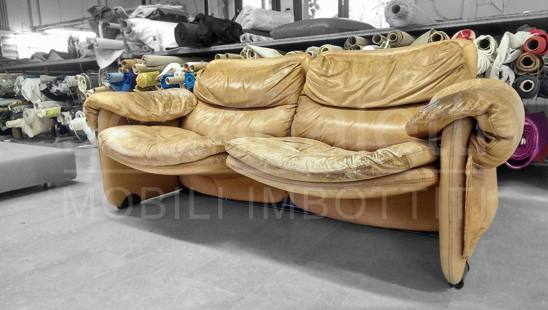 Restauro e nuovo rivestimento divano e poltrona brunati - Rifacimento cuscini divano ...