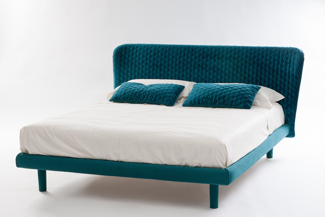 upholstered custom made bed made in Italy